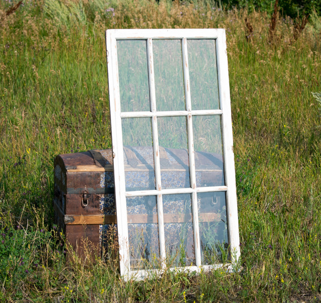 Chippy White 9-Pane Farmhouse Window