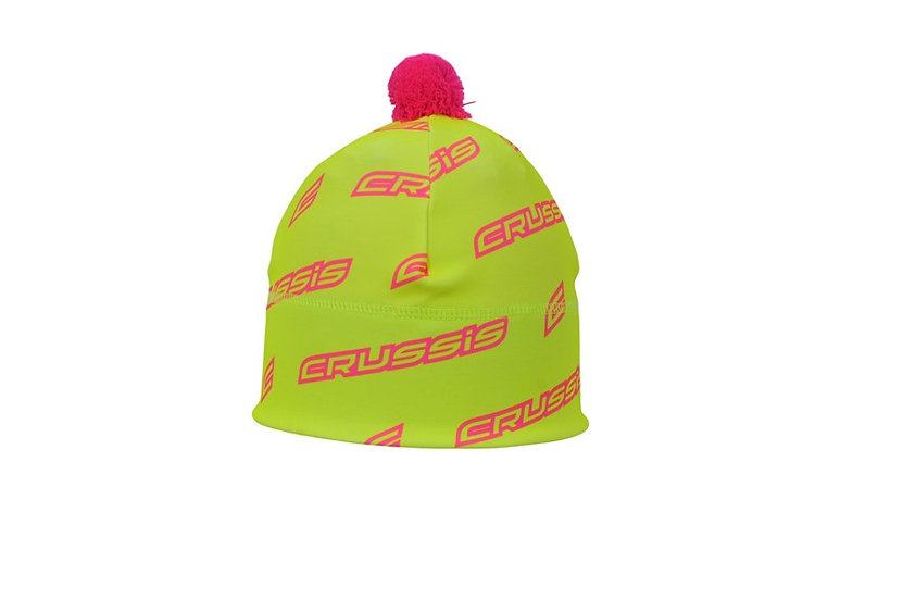 Spring / Autumn cap with pom-pom. Yellow fluorescent with Pink fluorescent
