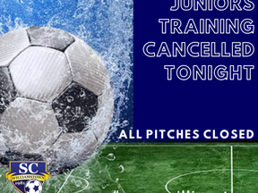 Training Cancelled Tonight - Wed 28 August