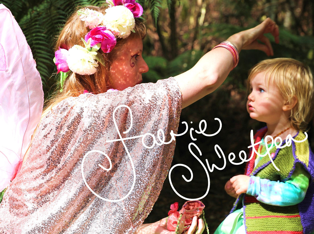 Fairy and child in the forest, Faerie Sweetpea making fairy wish
