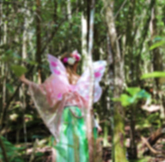 Fairy walking in the forest, the Faerie Sweetpea