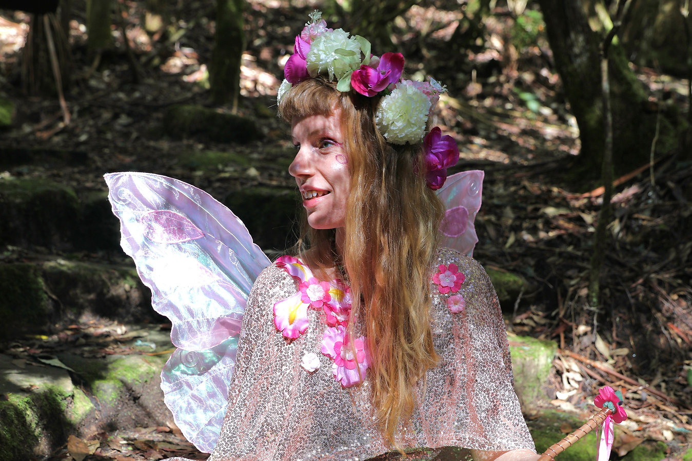 Smiling fairy in the forest, Faerie Sweetpea