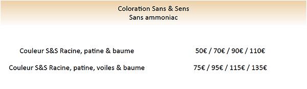 tarif couleur sans ammoniaque huile végé