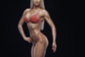 Cropped photo Fitness bikini model well