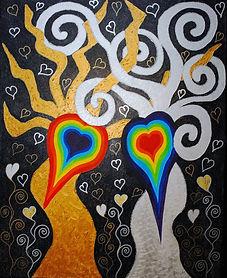 tableau osmose, deux arbres enlacés, yin yang, amour sacré, union mystique, unité arc-en-ciel