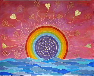 tableau d'eau et de feu, lever de soleil, coucher de soleil, arc-en-ciel, rayonnement de coeurs et spirales en or