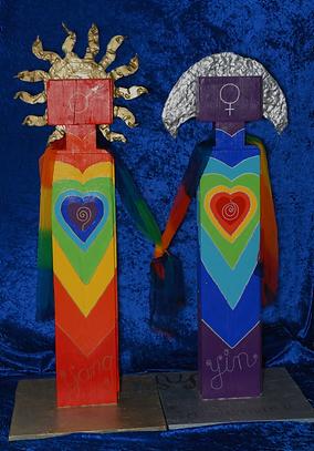l'homme et la femme arc-en-ciel, mariage mystique, union sacrée, unité, yin yang, amour, soleil, lune, or , argent