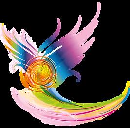 logo compagnie de danse vitalie, élan vital,vague de couleurs
