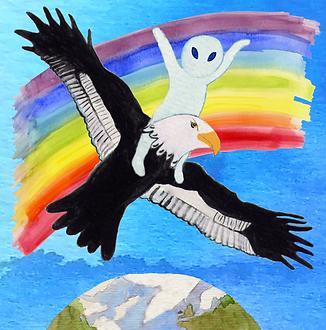 Sêmênankh vole sur un aigle arc-en-ciel au-dessus de la terre