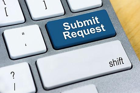 Written word Submit Request on blue keyb