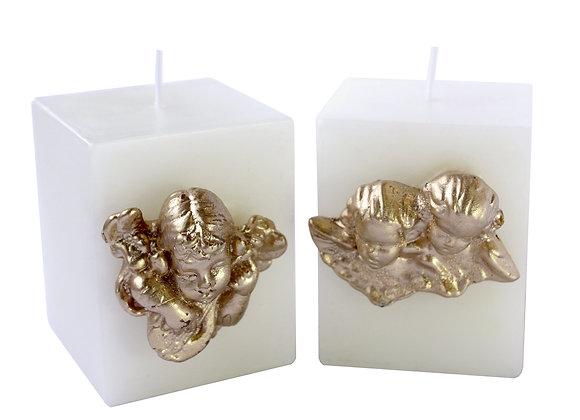 Vela Quadrada M com Anjo Ouro