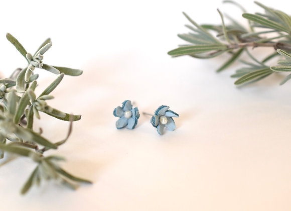 Small Forget-Me-Knot Blue Leather and Pearl Post Earrings