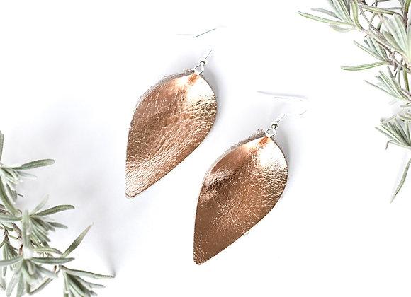 Rose Gold folded teardrop earrings