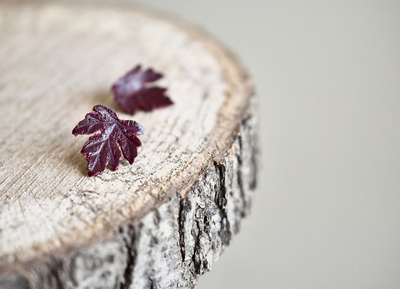 Small Burgundy Maple Leaf Stud Earrings