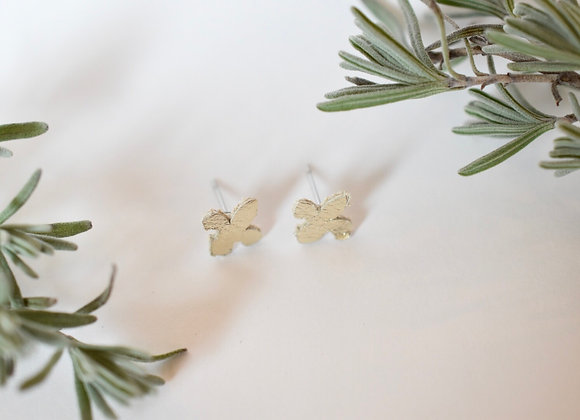 Small Champagne Gold Leather Fleur de lis post earrings