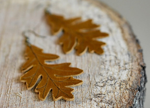 Sienna Brown Leather Oak Leaf Earrings
