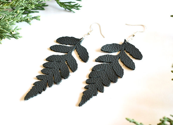 Dark Green Fern Leather Leaf Earrings