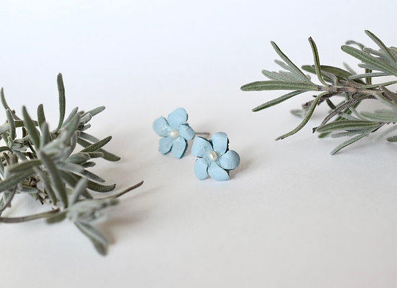 Forget-Me-Not Leather and Pearl Stud Earrings
