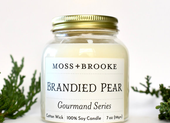 GOURMAND SERIES:  BRANDIED PEAR 7OZ MOSS+BROOKE CANDLE