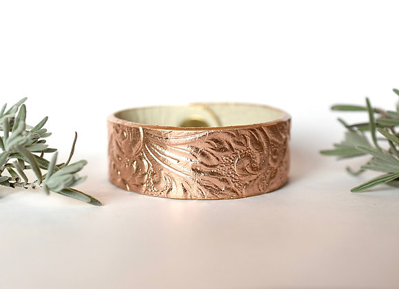 Medium Rose Gold Leather Bracelet Cuff