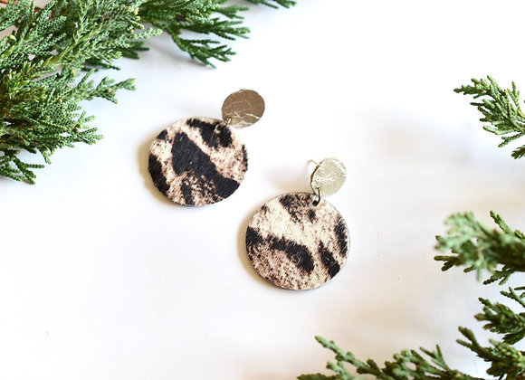 SNOW LEOPARD HAIR ON HIDE LEATHER EARRINGS