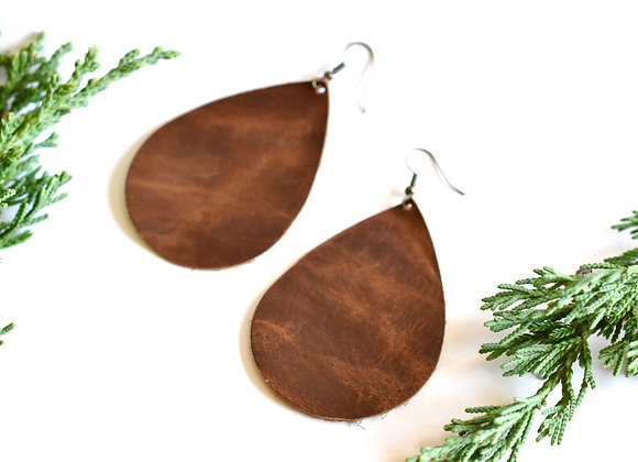 Extra Large Weathered Brown Leather Teardrop Earrings