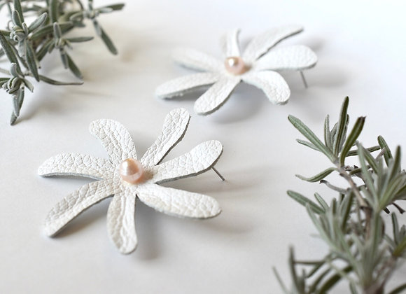 White Tiare Flower and Pearl Leather statement earrings