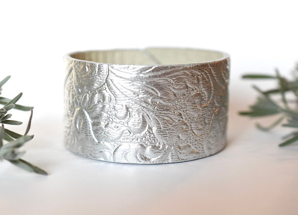 Wide Silver Leather Cuff Bracelet