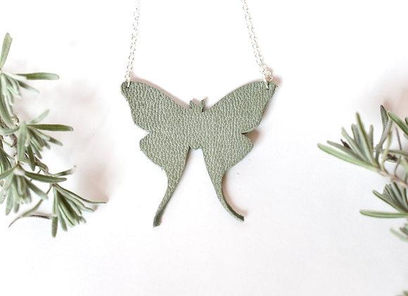 Medium Luna Moth Leather Necklace