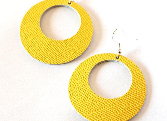 Yellow Leather Large Hoop Earrings