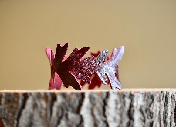 Burgundy Leather Oak Leaf Cuff