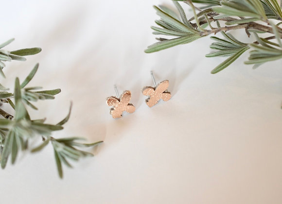 Small Rose Gold Fleur de lis Leather Post Earrings