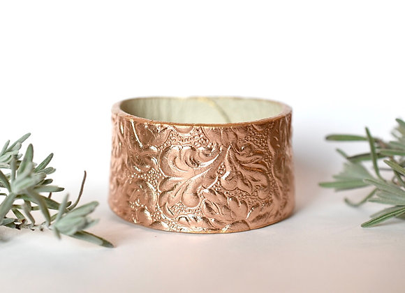 Wide Rose Gold Leather Bracelet Cuff