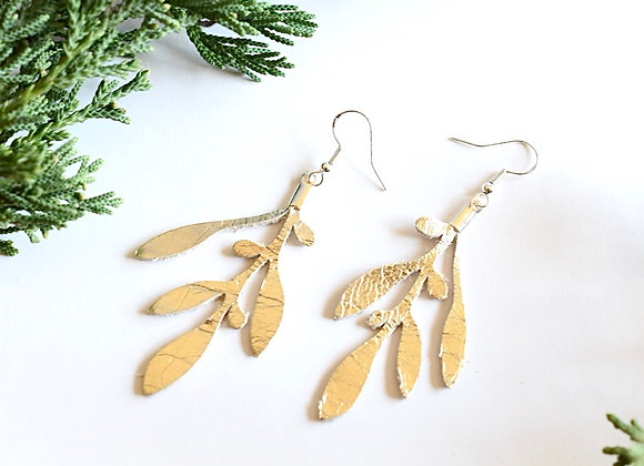 Champagne Gold Olive Branch leather Earrings
