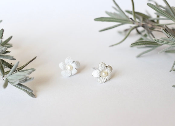 White Forget-Me-Not Leather and Pearl post earrings
