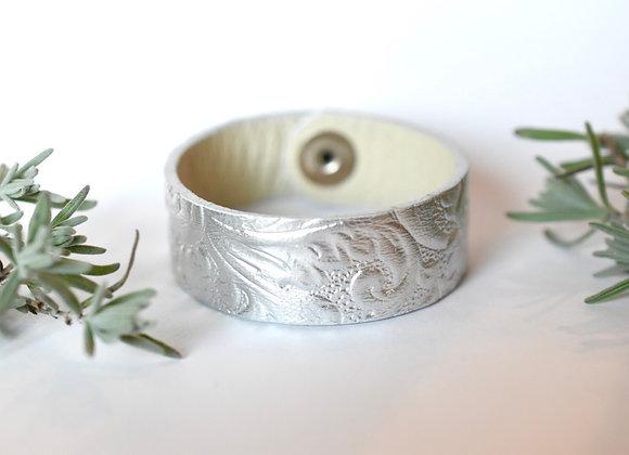Medium Silver Leather Cuff Bracelet