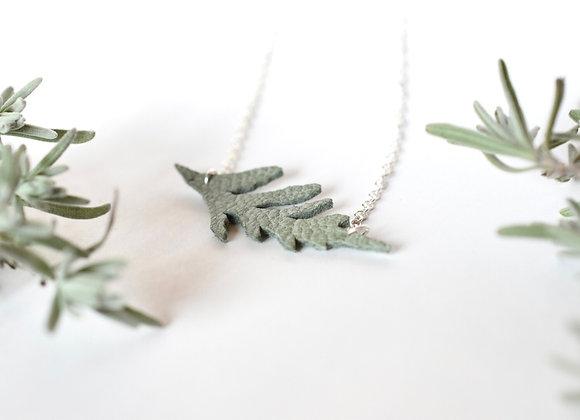 Sprig of Hemlock Leather Necklace