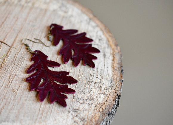 Large Burgundy Leather Oak Leaf Earrings