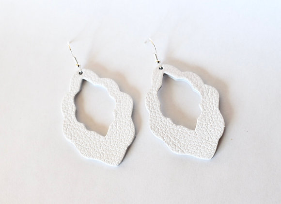 White Moroccan Leather Teardrop Earrings
