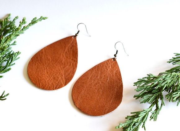 Extra Large Rust Leather Teardrop Earrings
