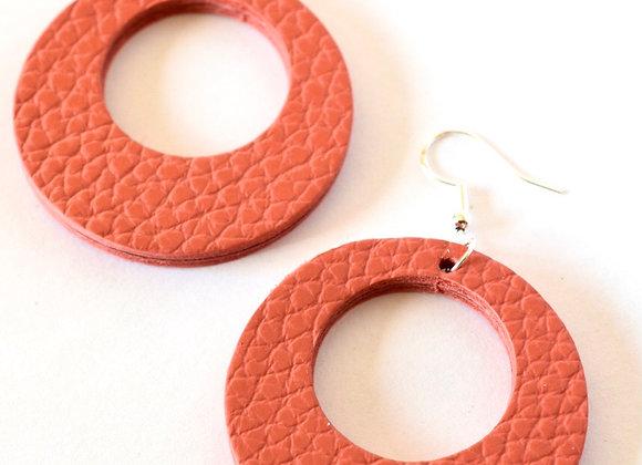 Coral Leather Large Hoop Earrings