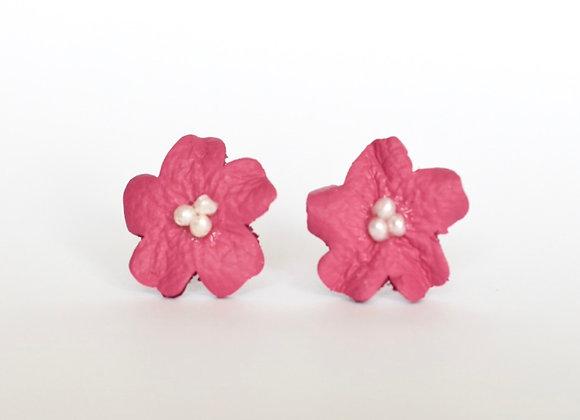 RASPBERRY PINK FLOWER AND PEARL STUD EARRINGS