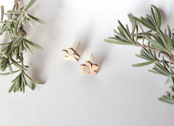 Small Rose Gold Flower Stud Earrings