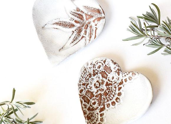 Lacy Heart Pottery White Tea Rest / Trinket Dish