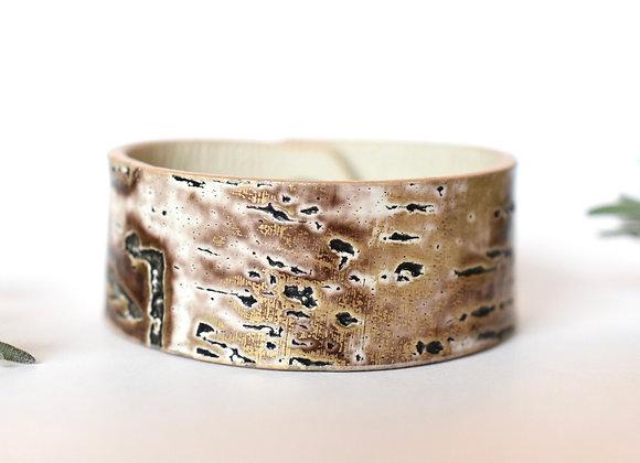 Wide Birch Bark Leather Cuff Bracelet