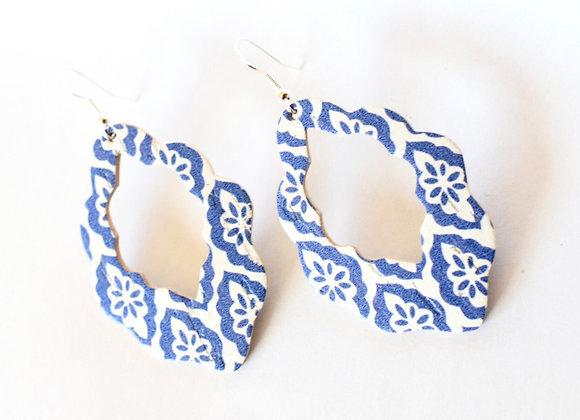 Blue Tile Cork and Leather Moroccan Teardrop Earrings
