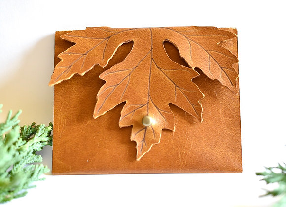 Sienna Brown Maple Leaf Leather Coin Purse Wallet