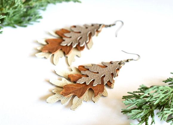 Triple Layered Oak leaf Earrings