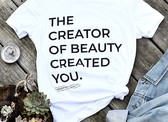 The Creator of Beauty Tee in Blanc