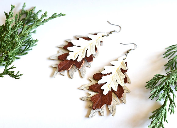 Triple Layered Oak Leaf Earrings